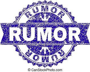Scratched Textured RUMOR Stamp Seal with Ribbon