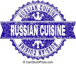 Scratched Textured RUSSIAN CUISINE Stamp Seal with Ribbon