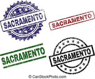 Scratched Textured SACRAMENTO Seal Stamps