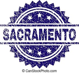 Scratched Textured SACRAMENTO Stamp Seal