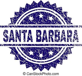 Scratched Textured SANTA BARBARA Stamp Seal