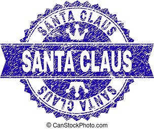 Scratched Textured SANTA CLAUS Stamp Seal with Ribbon
