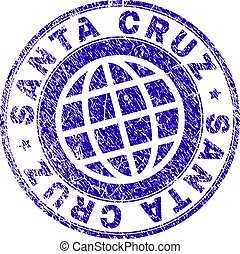 Scratched Textured SANTA CRUZ Stamp Seal