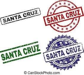 Scratched Textured SANTA CRUZ Stamp Seals