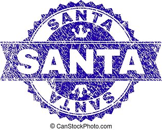 Scratched Textured SANTA Stamp Seal with Ribbon