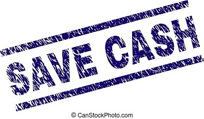 Scratched Textured SAVE CASH Stamp Seal