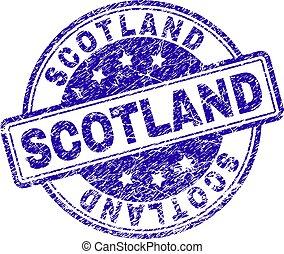Scratched Textured SCOTLAND Stamp Seal