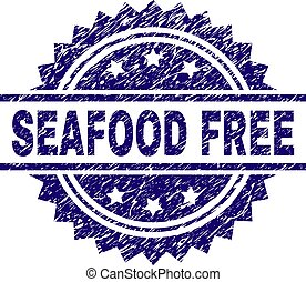 Scratched Textured SEAFOOD FREE Stamp Seal