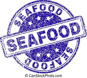 Scratched Textured SEAFOOD Stamp Seal