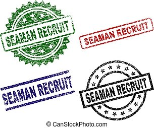 Scratched Textured SEAMAN RECRUIT Seal Stamps