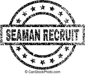 Scratched Textured SEAMAN RECRUIT Stamp Seal