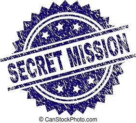 Scratched Textured SECRET MISSION Stamp Seal