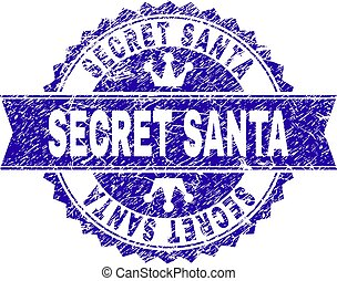 Scratched Textured SECRET SANTA Stamp Seal with Ribbon
