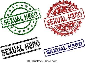 Scratched Textured SEXUAL HERO Stamp Seals