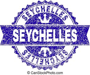Scratched Textured SEYCHELLES Stamp Seal with Ribbon