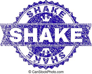 Scratched Textured SHAKE Stamp Seal with Ribbon