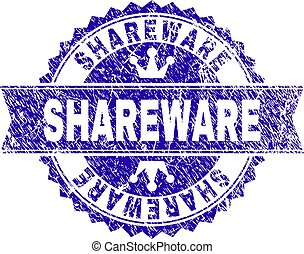 Scratched Textured SHAREWARE Stamp Seal with Ribbon - ...