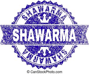 Scratched Textured SHAWARMA Stamp Seal with Ribbon