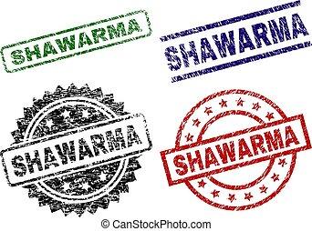 Scratched Textured SHAWARMA Stamp Seals