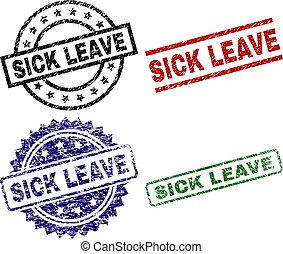 Scratched Textured SICK LEAVE Stamp Seals
