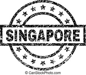 Scratched Textured SINGAPORE Stamp Seal