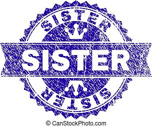 Scratched Textured SISTER Stamp Seal with Ribbon