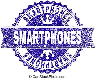 Scratched Textured SMARTPHONES Stamp Seal with Ribbon