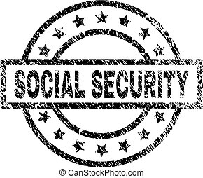Scratched Textured SOCIAL SECURITY Stamp Seal