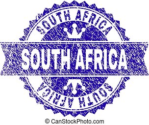 Scratched Textured SOUTH AFRICA Stamp Seal with Ribbon