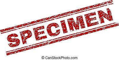 Scratched Textured SPECIMEN Stamp Seal - SPECIMEN seal print...