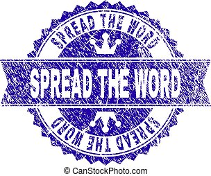 Scratched Textured SPREAD THE WORD Stamp Seal with Ribbon