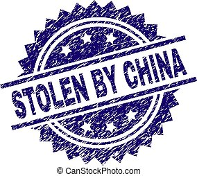 Scratched Textured STOLEN BY CHINA Stamp Seal