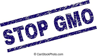 Scratched Textured STOP GMO Stamp Seal