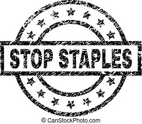 Scratched Textured STOP STAPLES Stamp Seal