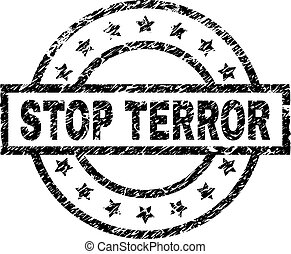 Scratched Textured STOP TERROR Stamp Seal