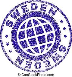 Scratched Textured SWEDEN Stamp Seal