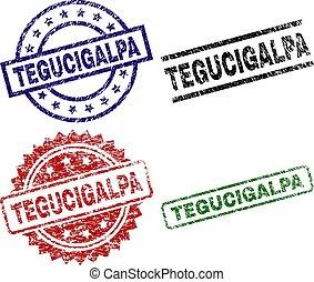 Scratched Textured TEGUCIGALPA Seal Stamps - TEGUCIGALPA...