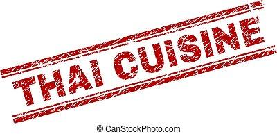 Scratched Textured THAI CUISINE Stamp Seal - THAI CUISINE...