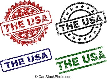 Scratched Textured THE USA Stamp Seals