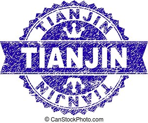 Scratched Textured TIANJIN Stamp Seal with Ribbon