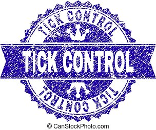 Scratched Textured TICK CONTROL Stamp Seal with Ribbon