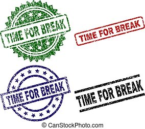 Scratched Textured TIME FOR BREAK Seal Stamps - TIME FOR ...