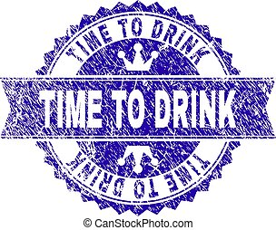 Scratched Textured TIME TO DRINK Stamp Seal with Ribbon