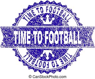 Scratched Textured TIME TO FOOTBALL Stamp Seal with Ribbon