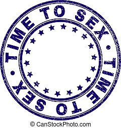 Scratched Textured TIME TO Round Stamp Seal