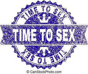 Scratched Textured TIME TO SEX Stamp Seal with Ribbon
