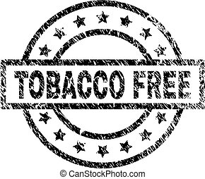 Scratched Textured TOBACCO FREE Stamp Seal