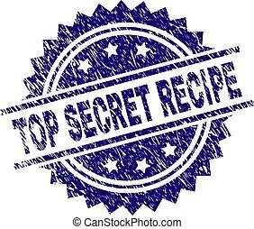 Scratched Textured TOP SECRET RECIPE Stamp Seal