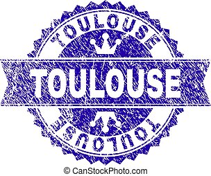 Scratched Textured TOULOUSE Stamp Seal with Ribbon