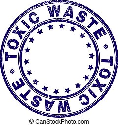 Scratched Textured TOXIC WASTE Round Stamp Seal